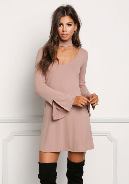 Light Mocha Choker Cut Out Bell Sleeve Shift Dress
