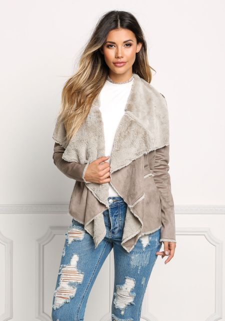 Stone Suedette Faux Fur Fold Over Jacket