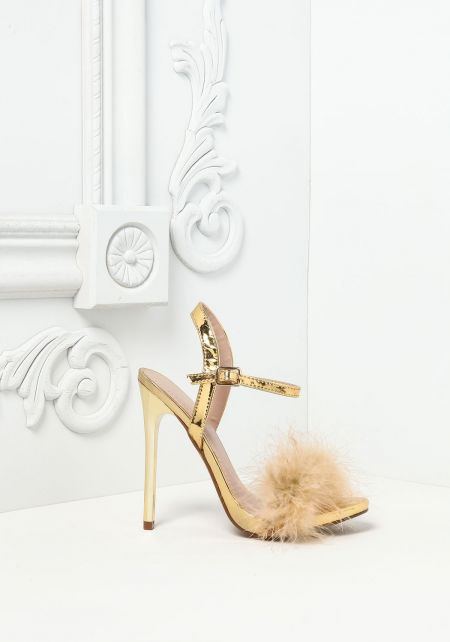 Gold Feather Fluff Heels