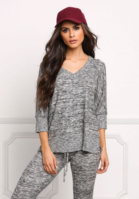 Heather Charcoal Soft Marled Knit Top