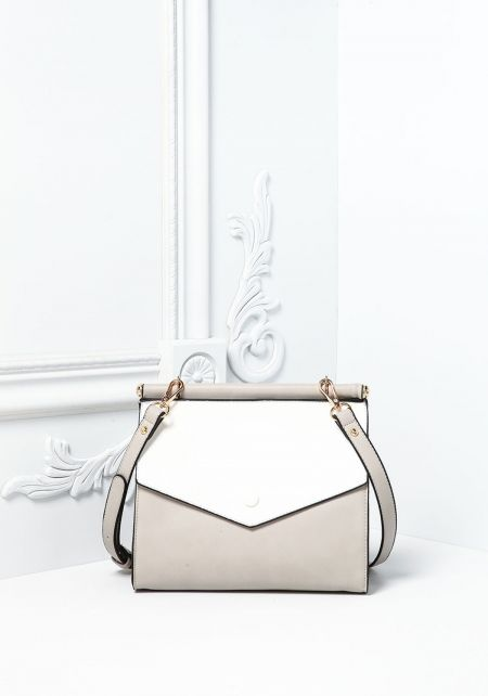 White Leatherette Two Tone Double Flap Crossbody B