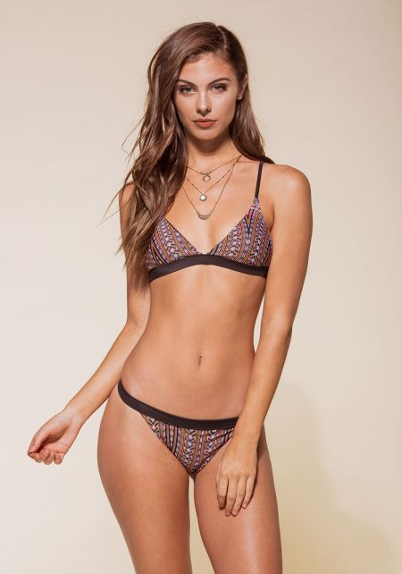 Multi Tribal Print Classic Triangle Bikini Set