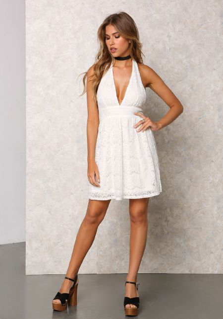 Cream Floral Lace Halter Flare Dress