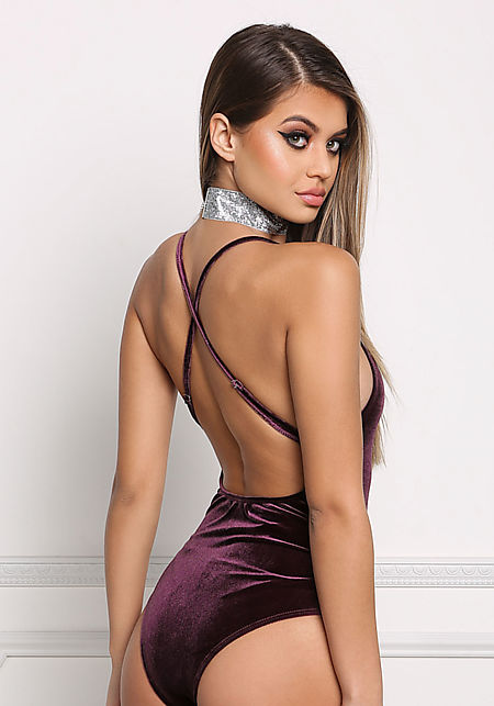 Purple Plunge Cross Strap Velvet Bodysuit