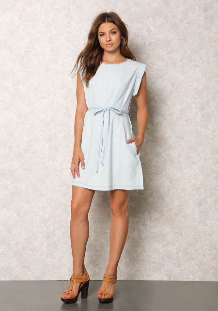 Light Denim Cap Sleeve Shift Dress