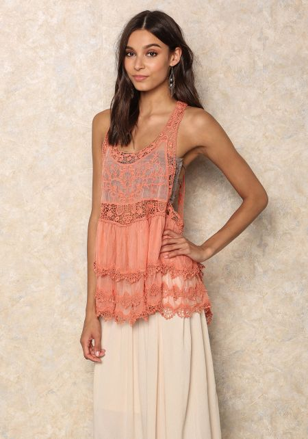 Coral Tiered Crochet Trim Top