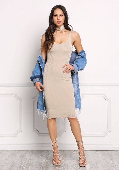 Nude Ribbed Knit Bodycon Tank Dress