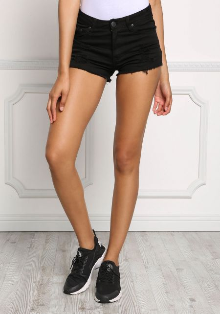 Black Distressed Frayed Denim Shorts