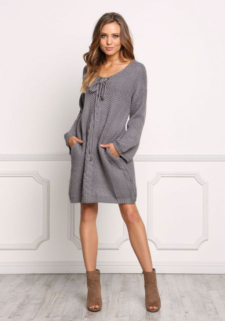 Charcoal Thick Knit Lace Up Shift Dress