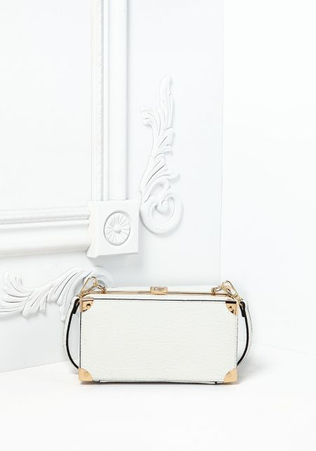 White Textured Leatherette Chest Crossbody Bag