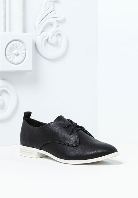 Black Leatherette Slip On Oxford