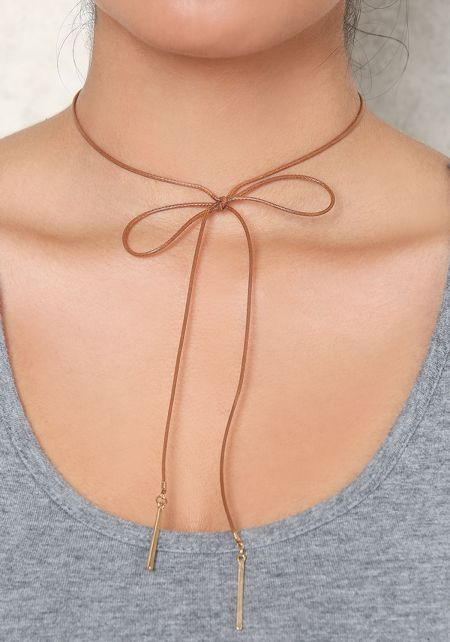 Brown Thin Bow Choker