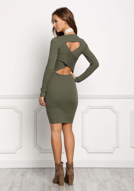 Olive Crossover Cut Out Bodycon Dress