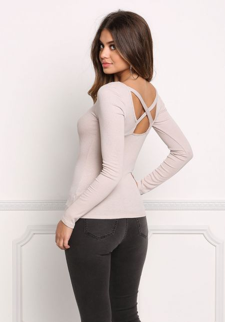 Taupe X Strap Ribbed Knit Top