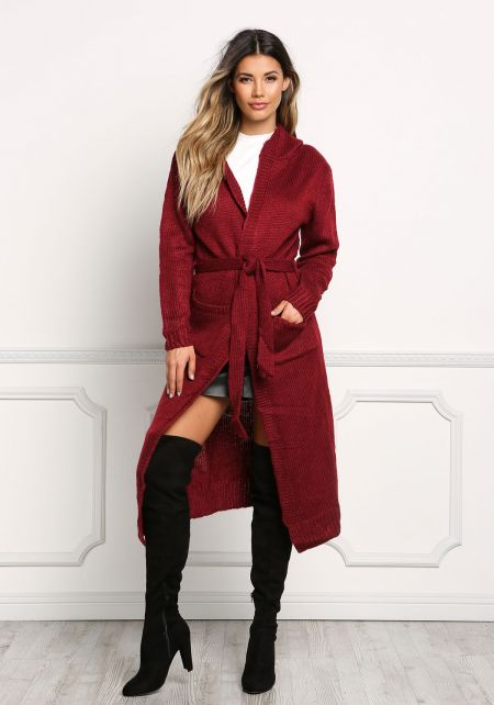 Burgundy Longlined Hooded Thick Knit Cardigan