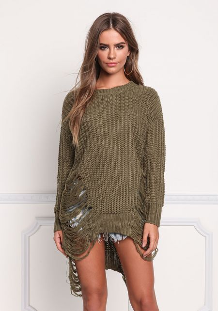 Olive Frayed Thick Knit Tunic Top