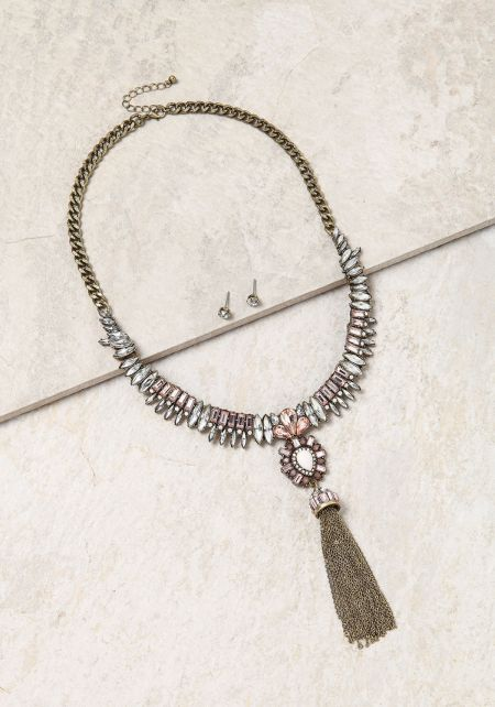Light Pink Rhinestone Chain Tassel Necklace