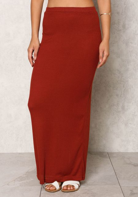 Brick Ribbed Knit Slit Maxi Skirt