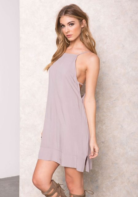 Grey Swing Strappy Slip Dress