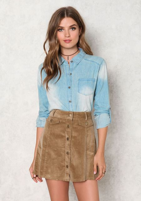 Light Denim Cropped Sandblasted Top