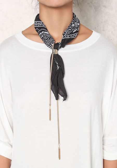 Black Paisley Bandana Drop Necklace