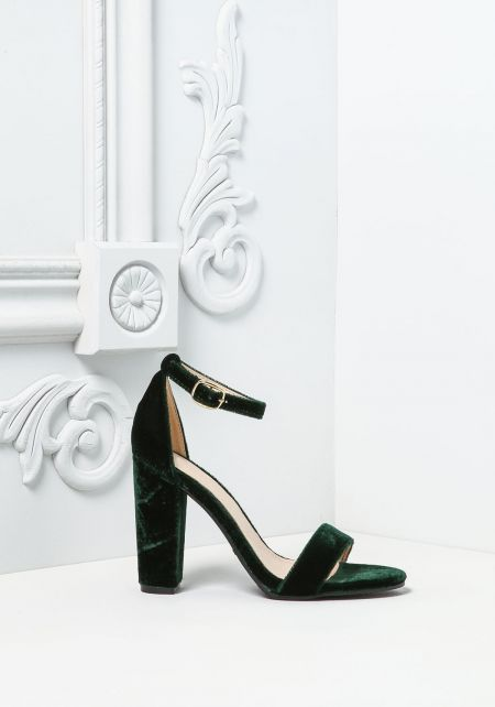 Green Crushed Velvet Thick Ankle Strap Heels
