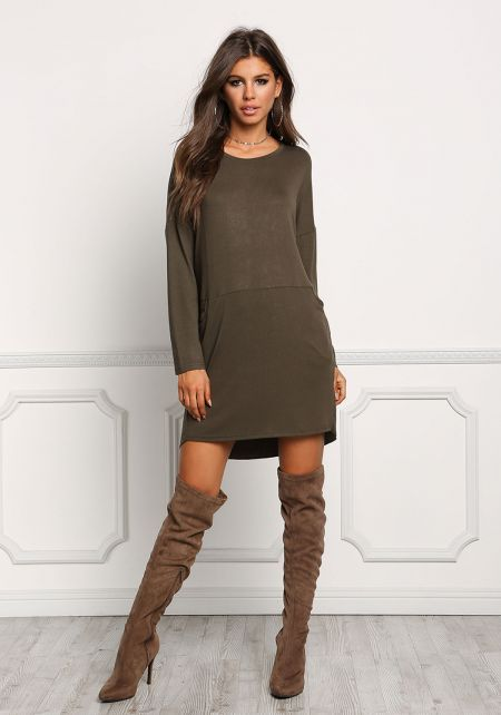 Olive Ribbed Knit Pocket Shift Dress