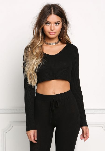 Black Ribbed Knit Hooded Crop Top