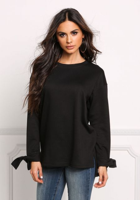Black Tied Sleeve Pullover Sweater Top
