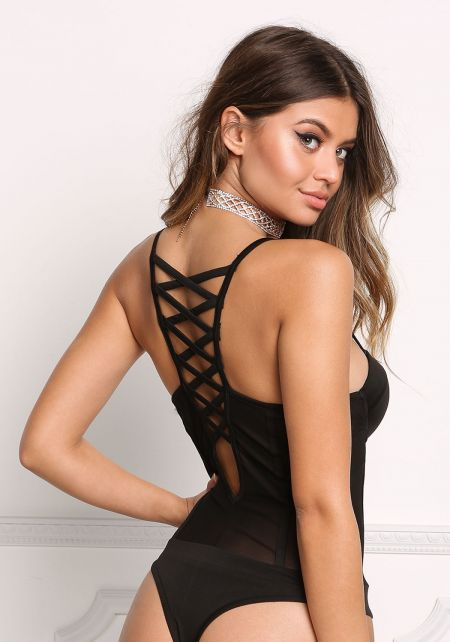 Black Cross Strap Bustier Bodysuit