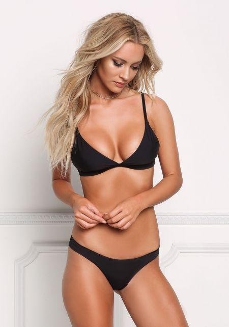 Black Low Rise Swimsuit Bikini Bottoms