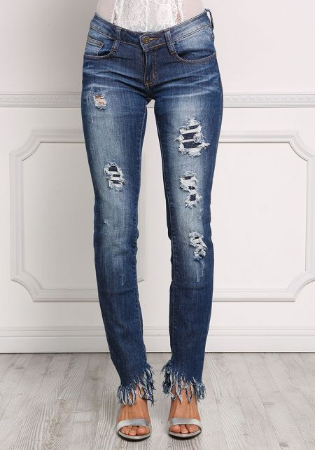 Denim Distressed & Frayed Jeans