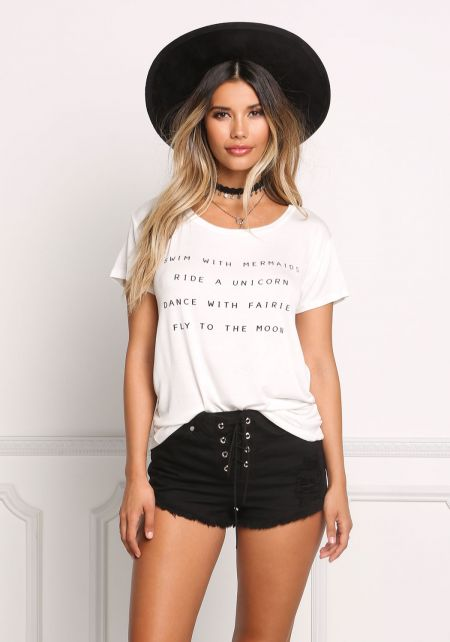 White Mermaid Jersey Knit Tee