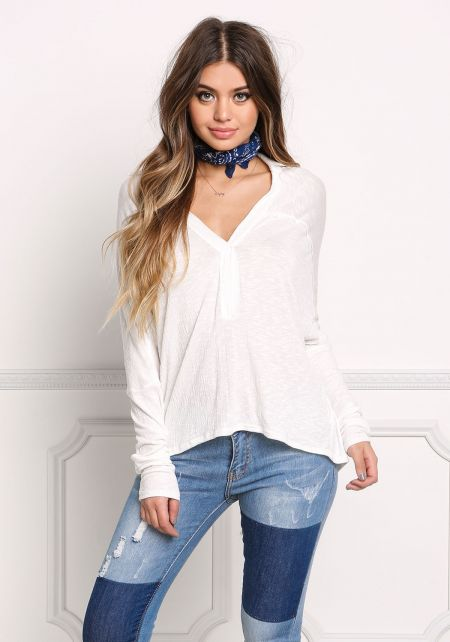 White Collared Marled Hi-Lo Top
