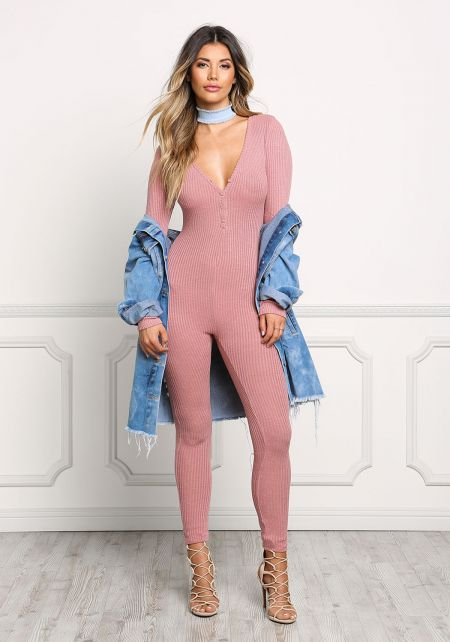 Dusty Pink Ribbed Knit Jumpsuit