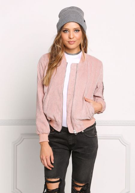 Dusty Pink Corduroy Bomber Jacket