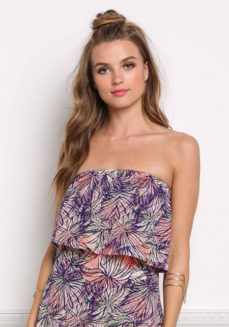 Multi Print Strapless Layered Crop Top