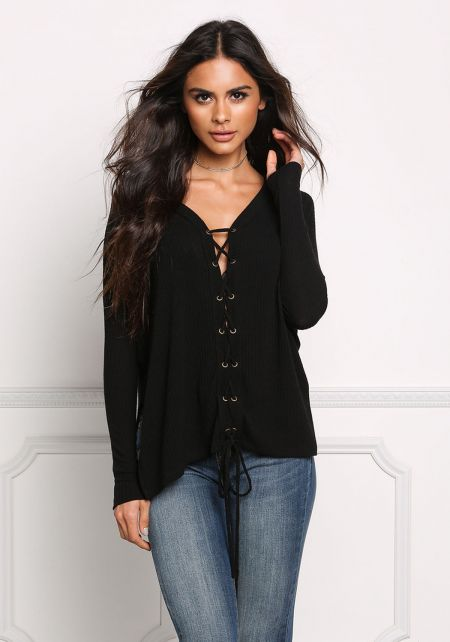Black Lace Up Ribbed Knit Slit Top