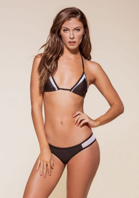 Black and White Mesh Triangle Bikini Set