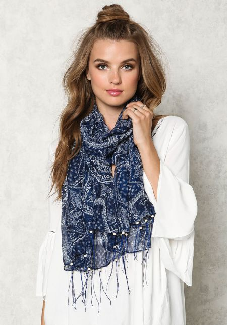 Navy Paisley Beaded Fringe Scarf