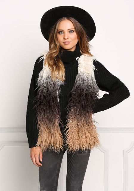 Multi Color Block Shaggy Faux Fur Vest