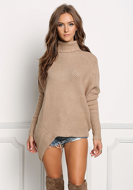 Taupe Chunky Knit Asymmetrical Sweater Top