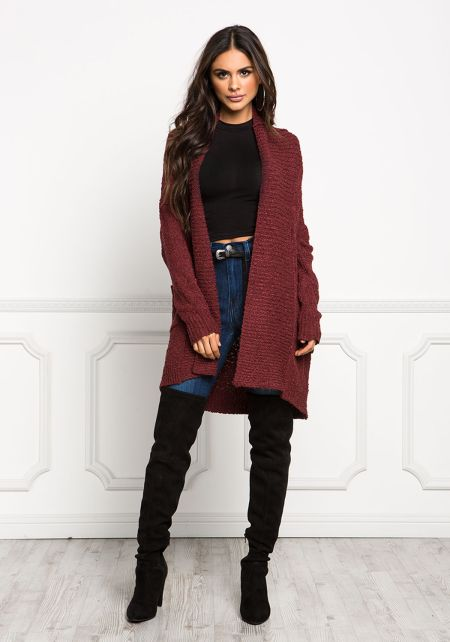 Wine Chunky Knit Open Front Cardigan