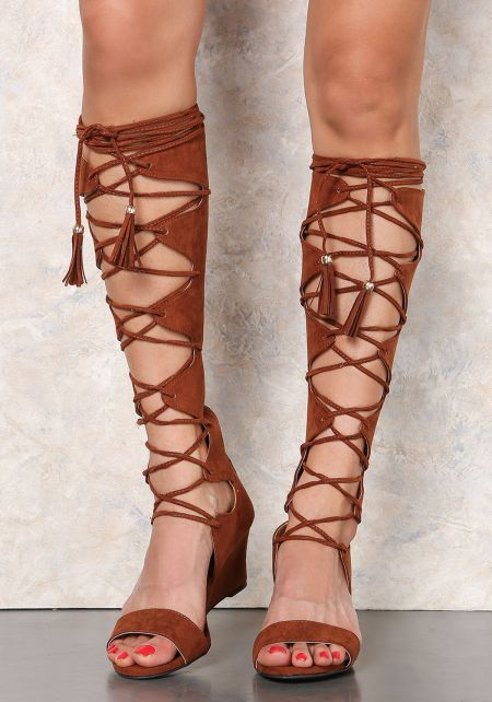 Rust Suedette Lace Up Knee High Wedge Sandals