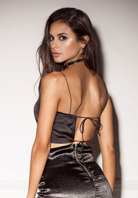 Black Satin Tie Back Crop Top