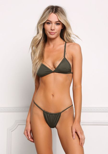 Olive Triangle Low Rise Swimsuit Bikini Bottoms