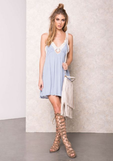 Baby Blue Gauze Crochet Plunge Dress