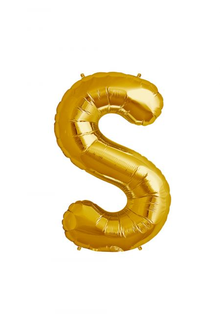 S Xtra Large Gold Foil Balloon