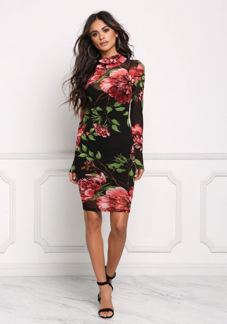 Black Floral Mesh Bodycon Dress