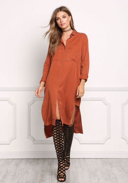 Rust Collared Longlined Hi-Lo Shirt Dress